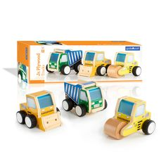 Get the fun rolling with Guidecraft's hand-held, Jr. Plywood Construction Vehicle set!