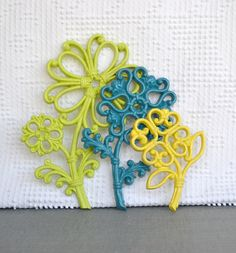 Bright Funky Wall Flowers.. You CHOOSE Colors Upcycled Wall Flowers set of 3 Pink Lime Aqua Purple Yellow Gray Teenage Bedroom Nursery on Etsy, $14.50