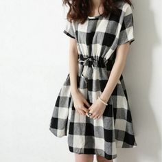 9de38a899 Plus Size Short Sleeve Round Collar Drawstring Color Block Plaid Pullover  Dress. Club Factory