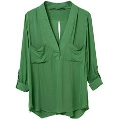 Choies Green V Neck Slit Back Roll Up Blouse (226.775 IDR) ❤ liked on Polyvore featuring tops, blouses, shirts, green, v neck blouse, v neck collared shirt, roll up shirt, v neck shirts and slit top