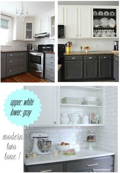 upper white lower gray kitchen cabinet paint  - I was thinking of white but this looks so pretty