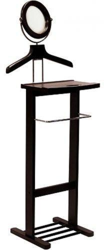 Valet Stand Mirror Open Base Dark Espresso Organizer Hanger Clothes GIFT