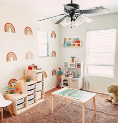 Every playroom should be as happy as this one!  📷: @kayashcroft Playroom Design, Playroom Ideas, Rainbow Wall Decal, Happy Play, Project Nursery, Brighten Your Day, Cool Rooms, Room Inspiration, Wall Decals