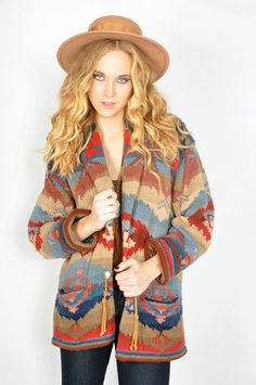 Vtg 80s Knit RALPH LAUREN SOUTHWESTERN NAVAJO Jumper BOHO Hippie Sweater Jacket