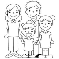 Easy Drawings For Kids, Drawing For Kids, Cute Drawings, Art For Kids, Cartoon Familie, Kindergarten Drawing, Stick Figure Family, School Coloring Pages, English Lessons For Kids