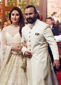 Kareena Kapoor Also Matched With Husband Saif Ali Khan Couple Wedding Dress, Wedding Dresses Men Indian, Saif Ali Khan Kurta, Engagement Party Dresses, Indian Men Fashion, Indian Designer Outfits, Most Beautiful Indian Actress, Couple Outfits, Kurta Designs