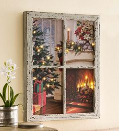 LED-Lighted Christmas Window Wall Art in Holiday Lighting This would be great for an interior room with no window!