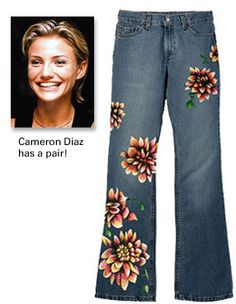 The Power of a Flower - Hand Painted Jeans