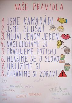 Pravidla dobrého soužití :: ZŠ Kounice Montessori Activities, Activities For Kids, Crafts For Kids, School Classroom, Classroom Decor, School Decorations, School Psychology, Special Education, Classroom Management