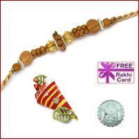 Auspicious Sandalwood Rakhi with Free Silver Coin