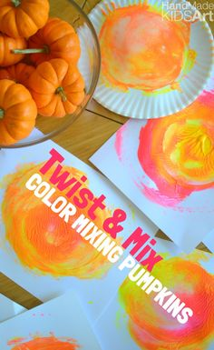 Color Mixing Pumpkins. What happens when red and yellow mix together? Explore color mixing in a fun interactive hands on activity. Perfect and easy fall kids activity.