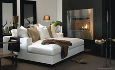 Living room / white comfy sofa and fire place