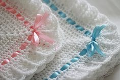 Two Crocheted Baby Blankets / Afghans White and Pink Blue