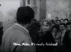 Irma (Alida Valli) wil niets meer weten van Aldo (Steve Cochran) als hij haar publiekelijk heeft vernederd. Fragment uit Il grido.