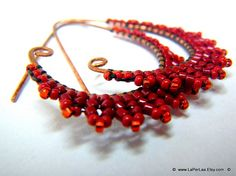 ETRUSCAN Filigree Lace Coral Red Earrings by LaPerLaA on Etsy, €13.00
