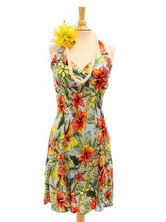 b274e08478f Starburst-Lt Blue Rayon Hawaiian Halter Neck Short Dress