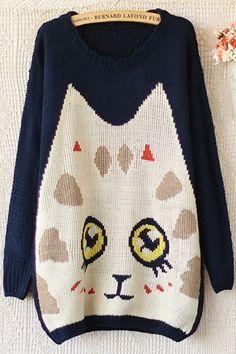 Cute Cat Graphic Sweater - OASAP.com