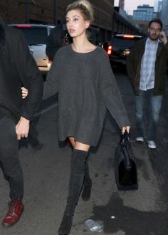 Pinterest: @barbphythian || Knee high boots | Hailey Baldwin
