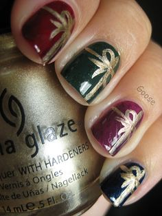 Gifts:  dark polish with ribbon using gold Sharpie marker!
