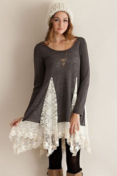 Tunic sweater top with lace detailing sweater refashion, tunic sweater, refashion dress, diy Refashion Dress, Diy Clothes Refashion, Diy Clothing, Sweater Refashion, Refashioning Clothes, Upcycled Sweater, Look Fashion, Diy Fashion, Fashion Ideas