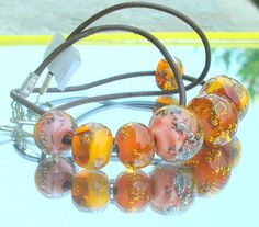 Bubbles Lampwork Necklace Fall Colors Autumn by CandanImrak, $55.00