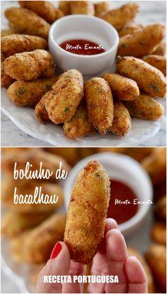 bolinho de bacalhau Easy Cooking, Cooking Recipes, Best Crockpot Recipes, Barbecue Sauce Recipes, Portuguese Recipes, Tasty Bites, Food Goals, Snacks, Kitchen Recipes