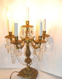 Vintage Gilt Brass Candelabra Lamp Candle 5 Arm Ornate Spain Light Prisms #Spain