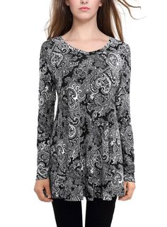 BAISHENGGT Women s Floral Printed Casual Long Sleeve Top Flared Swing Mini  Dress Black 2 Medium Tops 9a50fffd0985