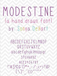 Modestine a Hand Drawn Font. Sans Serif Fonts. $3.00