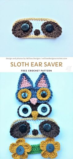 Sloth Ear Saver Crochet Pattern, Sweet Heartwarming Crochet Gifts For Frontline Heroes. These sweet ear savers will be a true relief to your sore ears. And they look so adorable! Crochet Mask, Crochet Bear, Crochet Gifts, Crochet Toys, Crochet Simple, Quick Crochet, Cute Crochet, Crochet Bookmarks, Crochet Slippers