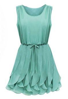 Green Sleeveless Ruffles Pleated Chiffon Dress $30.50 ON SALE