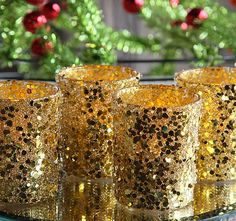 Check out the deal on Gold Sequins Votive Holders 2.5 Inch - Set of 4 at Battery Operated Candles