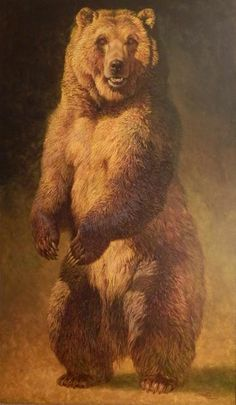 EZRA TUCKER BIG MOUNTAIN RISING oil on canvas 95.75 x 56 in (243.21h x 142.24w cm) $68,000 The Majestic Mountain Grizzly is the top predator on the North American continent. The distinctive dark color of the fur on their legs and dark stripe down its back in contrast to the golden fur covering the remainder of it's body, is how one can distinguish it from grizzlies that live in the low lands. There is a gentleness to this powerful creature when it is unsure and in the process of deciding how…