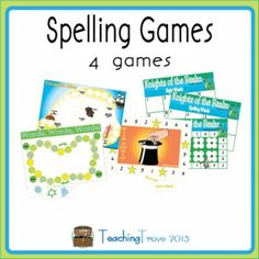 Spelling games help motivate your class to learn their spelling. This set of four games can be used with any spelling word list. Print and laminate then write your spelling list words using a dry erase pen. Simply wipe off the words at the end of each week ready for your new list words the following week.