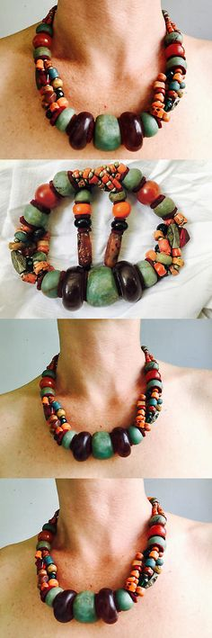 Necklaces and Pendants 98481: Antique Berber Red Amber, Amazonite And Coral Necklace. Tazelagt. Tiznit, Morocco -> BUY IT NOW ONLY: $1800 on eBay!
