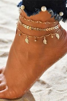 """Get out those sandals and shorts and pair this cute summery anklet set wit them! This anklet set features sweet dangle charms and sparkly crystal beads. You get three anklets in this set so you can mix and match them! - Composition: gold plated zinc alloy, clear faceted glass beads - Measurements: chains: 8.2"""" to 9"""" + 2"""" extension - Lobster claw clasp Bohemian Bride, Boho Gypsy, Bohemian Jewelry, Hippie Boho, Bohemian Style, Clear Acne Overnight, Crystal Beads, Glass Beads, Summer Outfits Women"""