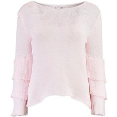 Boohoo Gemma Ruffle Sleeve Jumper ($24) ❤ liked on Polyvore featuring tops, sweaters, sequin sweater, sequin top, chunky sweater, chunky turtleneck sweater and marled sweater