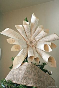 home.made.: {Tutorial} Book Page Star Tree Topper