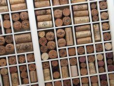 wine cork board made from vintage printer drawer