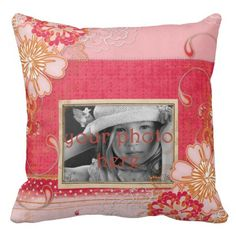 Pink Red Floral Photo Throw Pillow