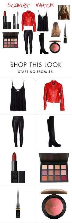 """Scarlet Witch"" by ktkoletz on Polyvore featuring Sans Souci, Off-White, Venus, Stuart Weitzman, Christian Dior, Christian Louboutin and MAC Cosmetics"