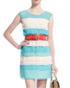Blue Pearl Round Neck Sleeveless Chiffon Dress