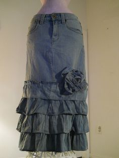 Belle Rose ruffled jean skirt with huge rose by bohemienneivy, $120.00