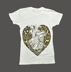 Anatomical Heart T shirt spring fashion Ivory by sealmaiden,