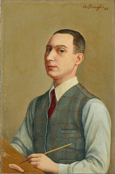 'L'Autoritratto di Antonio Donghi' (1943) by Italian painter Antonio Donghi (1897-1963). via Arte magazine