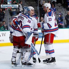 #NYR won 2-0 last night with goals from Nash and Zucc! Henrik and Raanta also combined for the first shared shutout in #NYR90 history!