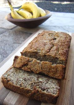 #paleo Banana Bread: 3 ripe bananas 4 Tablespoons (1/2 stick) grass-fed butter or ghee, melted; 3 large eggs; 1 Tablespoon vanilla extract; 1 1/4 cups almond flour; 1/4 cup coconut flour; 1/4 cup arrowroot starch; 2 Tablespoons flax meal; 1 teaspoon baking powder; 1 teaspoon baking soda; 1 teaspoon cinnamon; 1/2 teaspoon salt; 1 cup pecans, chopped