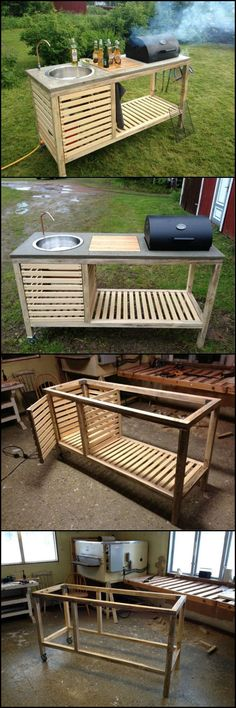 How To Build A Portable Kitchen For Your Backyard theownerbuilderne. Outdoor kitchens have so many benefits and advantages but cost, usually, isn? need an expensive and full size outdoor kitchen. It just has to be functional an Backyard Projects, Outdoor Projects, Home Projects, Pallet Projects, Woodworking Projects, Woodworking Clamps, Custom Woodworking, Teds Woodworking, Outdoor Spaces