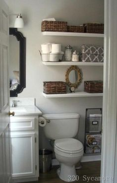 good way to organize a small bathroom - and the layout looks just like the ensuite bathroom in the apartment!
