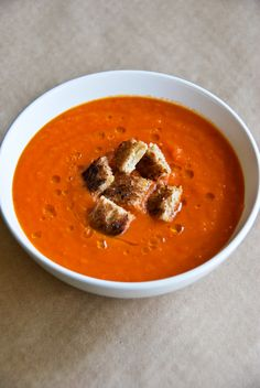 Roasted Red Pepper & Potato Soup | a kitchen cafe More